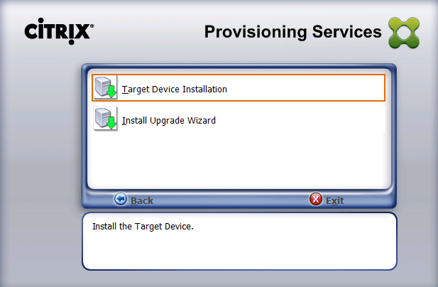 12. Select Target Device Installation.