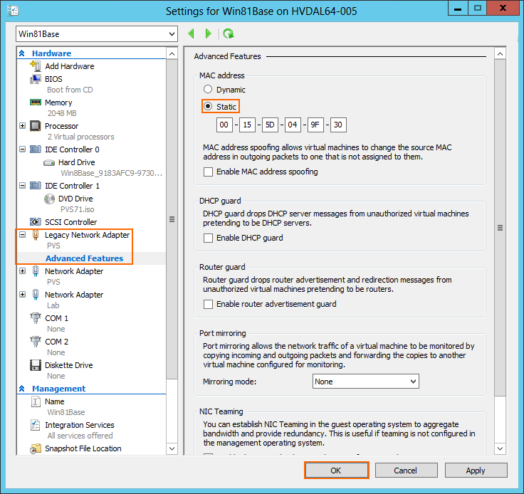 From Hyper-V Manager, right-click on the Win81Base VM and select Settings. 22.