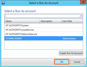 14. Leave Use an existing Run As Account selected and click Browse. 15. Select SCVMM_RUNAS (or whichever is the RUNAS Account) and then click OK.
