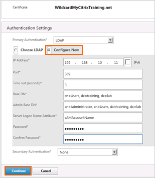 9. Under Authentication Settings, click the button for Configure New and enter the appropriate details (sample shown here): IP Address: 192.168.10.