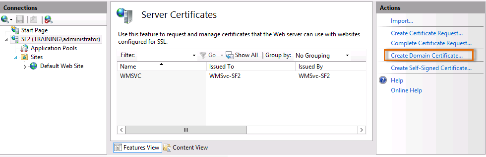 33. Double-click Server Certificates.