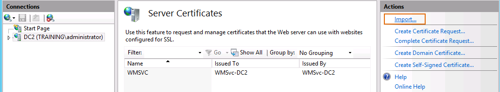 67. Change the type to https, leave the host name blank, and select the WildcardCert under SSL certificate. Click OK. 68. Click Close. 69. 70. Switch to the DC2 virtual machine.