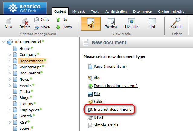 22 Kentico CMS 7.0 Intranet Administrator's Guide 4. In the New document dialog which gets displayed, select the type. Intranet department document 5.