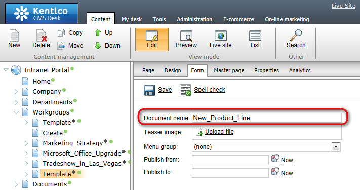 Workgroups 51 2. Select the new copy of the Template document and switch to the Form tab. Now change the Document name to the name that you wish to give to the new workgroup.