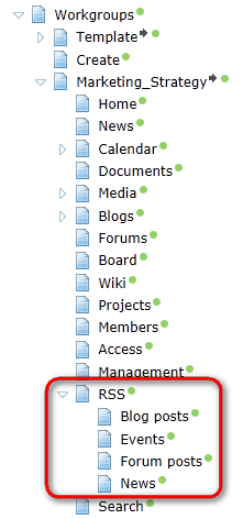 86 Kentico CMS 7.0 Intranet Administrator's Guide 3) RSS feed pages for content of particular workgroup section are located under the RSS document in each workgroup's dedicated website section.