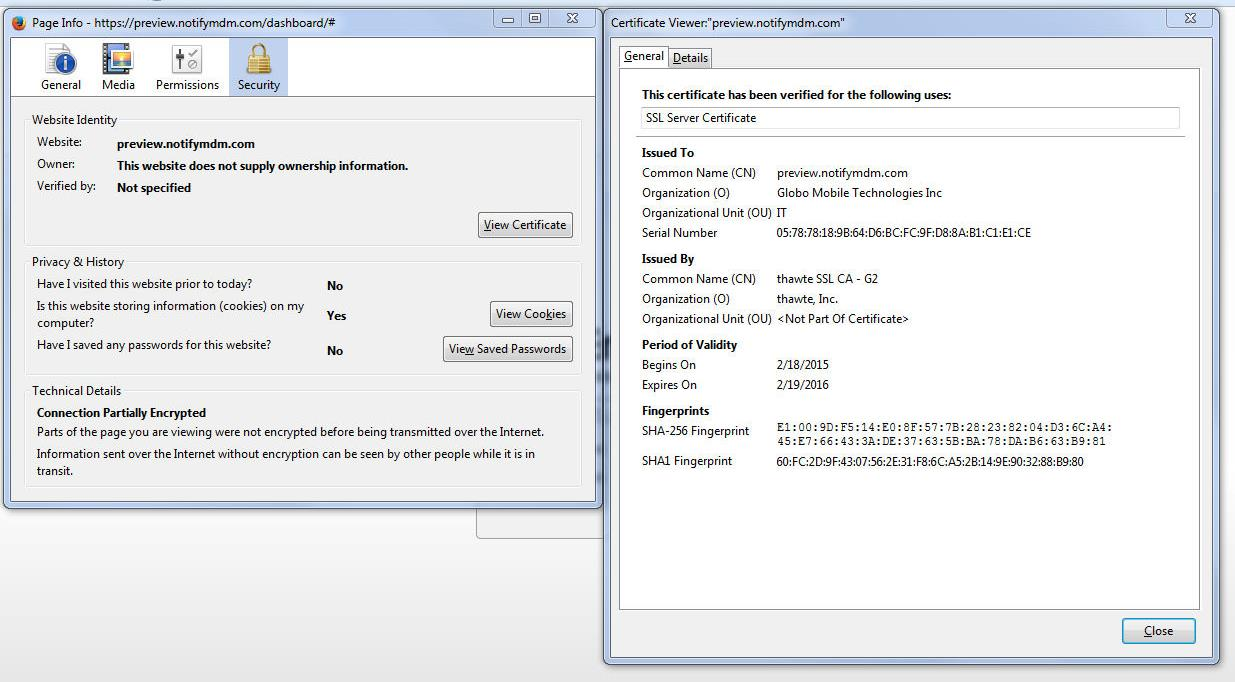 Figure 3 Exporting the MDM Site Certificate with Firefox GO!