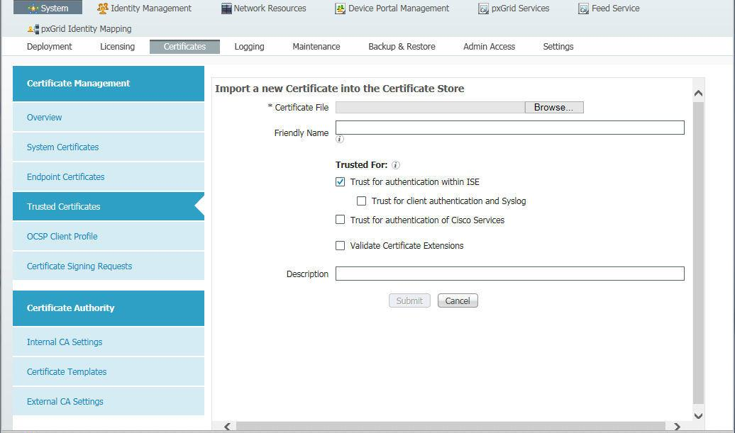 Import the Certificate to ISE ISE has a certificate store to which you can import the MDM certificate. From the ISE console, select the Administration tab and choose Certificates.