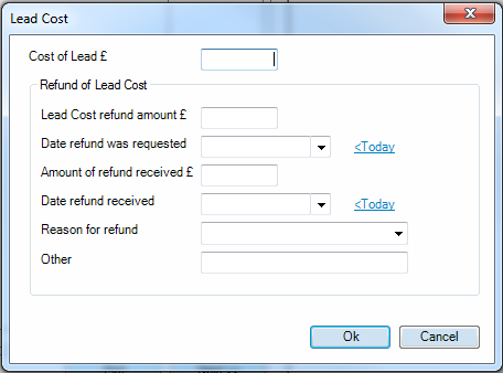 Lead Cost details this allows additional details of the lead cost and any refunds to be recorded as seen in the following screen.