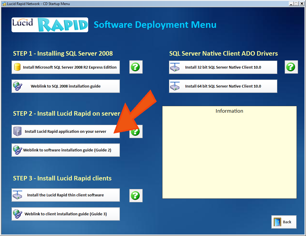 2. Installing Lucid Rapid application software on the server IMPORTANT! Please install Lucid Rapid software on a locally attached disk (such as C:) and avoid using networked drives.
