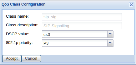 Figure 16: Traffic priority summary Figure 17: QoS class configuration for sip_sig traffic Field Class name Class description Description sip_sig, sip_audio or sip_video Description of above DSCP