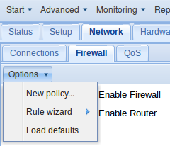 Figure 3: Accessing the default firewall policies. Default Policies are shown in Table 4 below Source Zone Destination Zone Action Com.X Internet Accept Com.X LAN Accept Com.X DMZ Accept LAN Com.