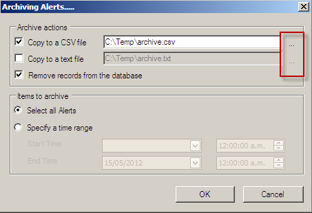 Data Archiving Archiving Alerts Follow these steps to archive Pharos Alerts: 1. In the Alerts context Actions Pane, select the Archive option ( ). This opens the Archiving Alerts dialog box. 2.