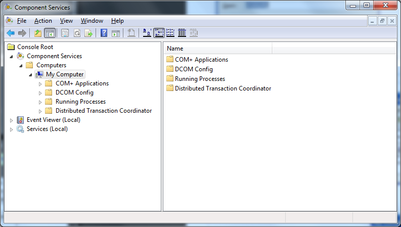 4. The Component Services dialog will appear 5.
