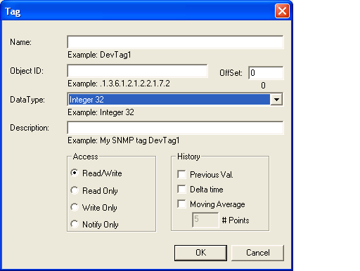 In the dialog box for creating a new SNMP database tag: 1. In the Name field, enter a logical and brief description of the MIB object data being read.