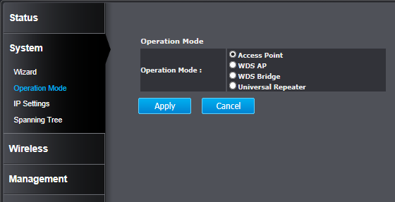 System Operation Mode You can choose the mode that best suits your network: Access Point, WDS AP, WDS Bridge and Universal Repeater. Access Point This is the default operation mode.