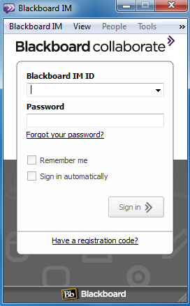 Using Blackboard IM You DO NOT start a Bb IM session by logging into Blackboard.