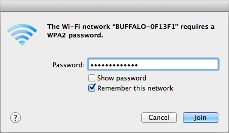 Mac OS (Wi-Fi) Use Wi-Fi on a Mac to connect to the AirStation. Note: In Mac OS 10.6 and earlier, Wi-Fi appears as AirPort. 1 Click the icon in the top section of the screen and select Turn Wi-Fi On.