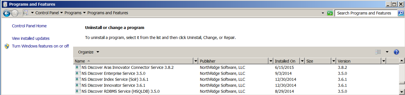 [NS_Home] \NSD-Enterprise [NS_Home] \NSD-RDBMS 2.4.3 UNINSTALL NORTHRIDGE DISCOVER Open the Windows Uninstall or change a program dialog. Uninstall each of the NS Discover programs.