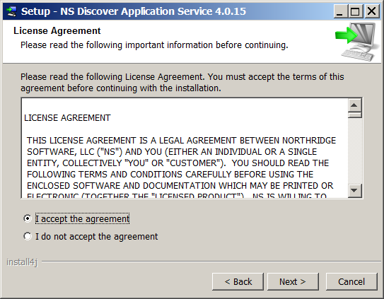 3. The end user license agreement dialog is displayed. 4. Choose to accept the license agreement after reviewing the text.