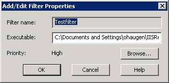 Preconfiguration Requirements Select the ISAPI Filters tab and click the Add button.