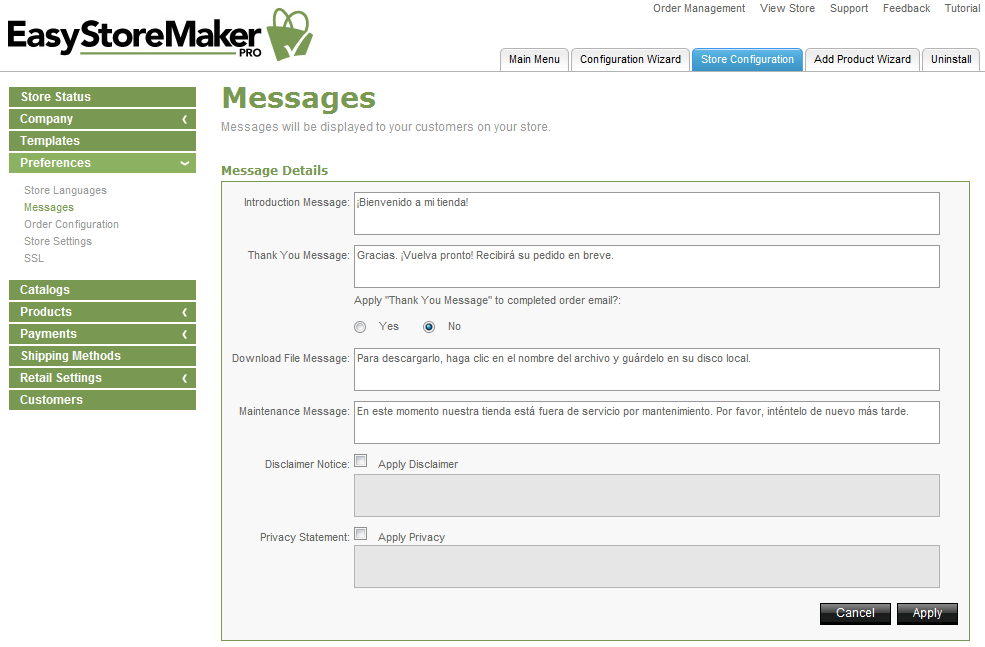 Page 17 f 41 EastStreMaker Pr 4.4 2. Select stre language. 3. Click Apply. TO EDIT MESSAGES: 1. Click Messages.