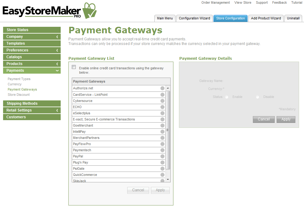 Page 28 f 41 EastStreMaker Pr 4.4 2. Select required currencies. 3. Click Apply. TO MANAGE PAYMENT GATEWAYS: 1. Click Payment Gateways. 2. Select the gateway yu wuld like t use. 3. Fill in yur merchant accunt infrmatin 4.