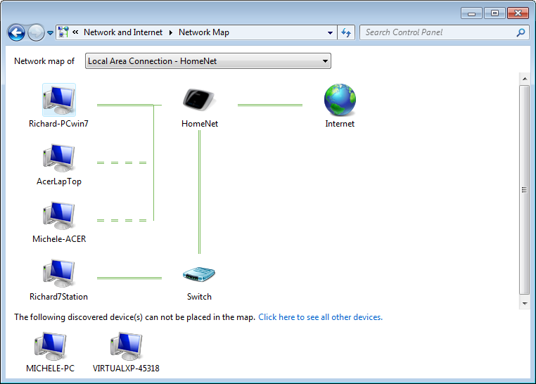 Windows 7 Network Map The Network Map is a valuable troubleshooting tool for isolating network connection problems for Widows Vista and Windows 7 systems.