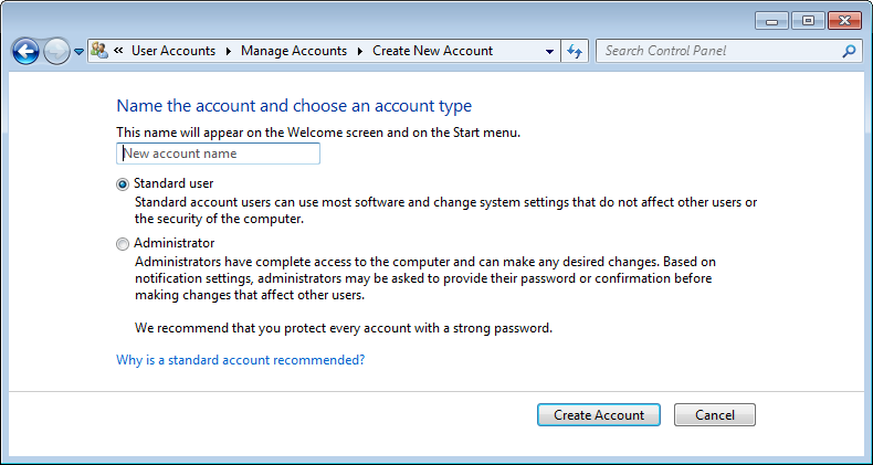 Look at the screen capture below and you can see the dialog box where a user account is created.