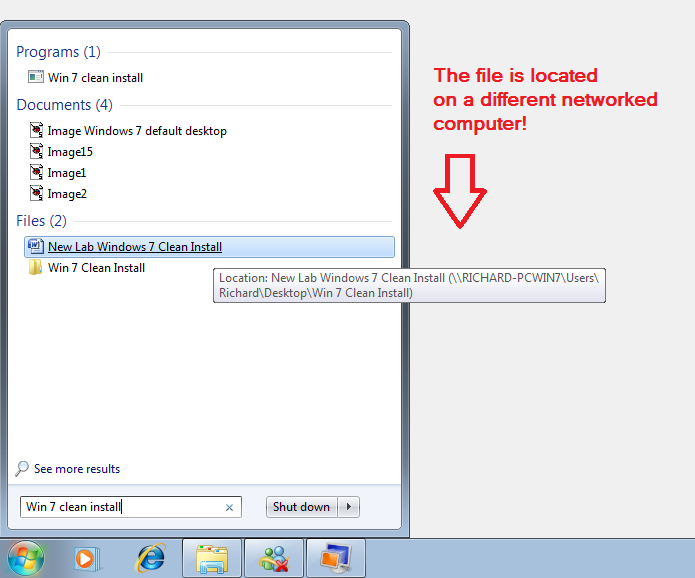 Federate Search on Network Labeled In the screen capture above, you see the results of a search looking for a document named Win 7 clean install.