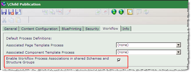 Chapter 12 Workflow To share Process Associations of Schemas and Structure Groups from a Parent Publication: (Continued) Figure 12-15 A Child Publication with associated Workflow Processes 3 Click