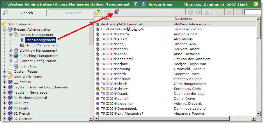 Content Management Implementation Guide 5.3 Results To add users to the Content Manager from a Windows domain: Figure 4-10 New user 2 Click the New User button on the toolbar.