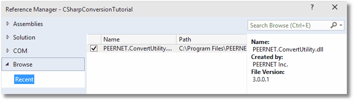 CONVERT A FILE IN MY PROGRAM With the provided.net library, PEERNET.ConvertUtility.dll, you can add file or folder conversion to your application with a single line of code.
