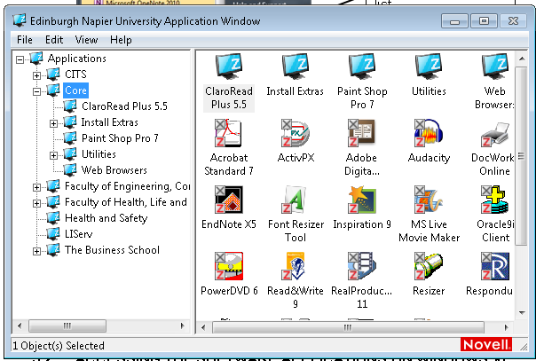 Select the required application from the list. 2. Use the menu on the left to navigate between the folders and in the right window double click on the program you wish to use. 4.