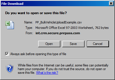 9. Click Save. Closes the Save As dialog box. Saves the Excel file to the desired location. Displays the Download Complete dialog box.