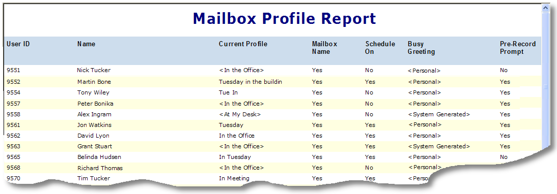 Mailbox Usage Run this report to review voice messaging use and access history for all voice mailboxes. This can provide a daily summary of voice mail traffic for your entire system.