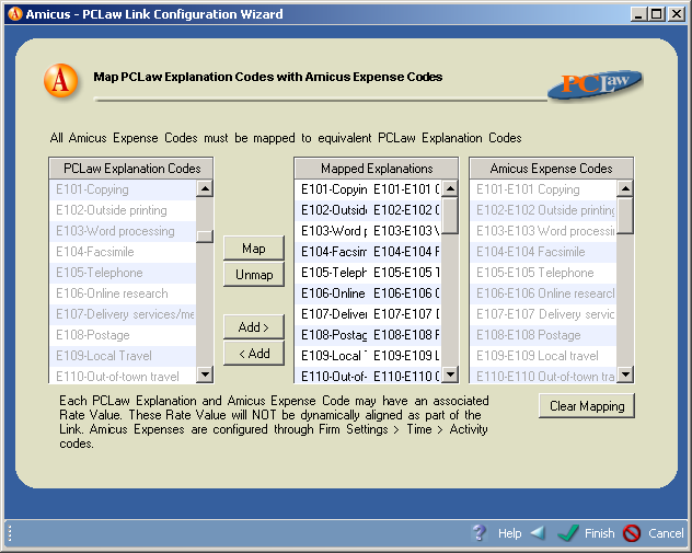 Step 3i - Map PCLaw Explanation Codes with Amicus Expense Codes Map the PCLaw Explanation Codes to Amicus Expense Codes.