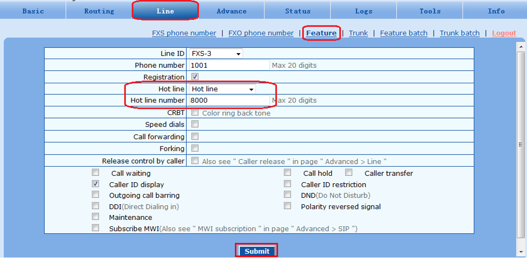 3. On the Line > Feature, select Hot Line in the Hot line field, and fill in the corresponding FXO port number in the Hot line number field, as follows: With FXO-FXS hot line arrangement as described