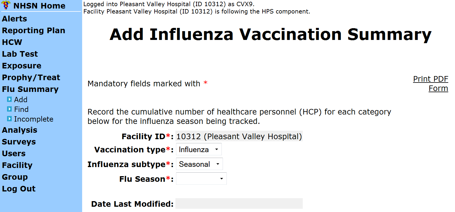 Summary Report for All Other Facilities Influenza and Seasonal are the default choices for
