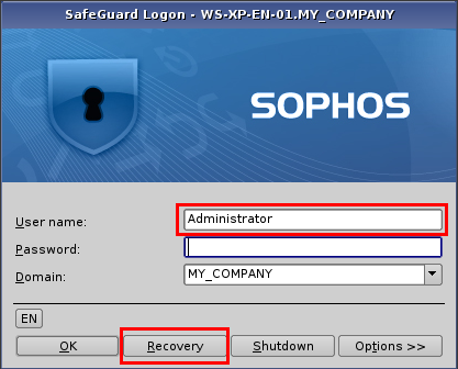 Sophos SafeGuard Disk Encryption, Sophos SafeGuard Easy To recover your system if you have forgotten your password: 1. Enter your user name and select Recovery. 2.