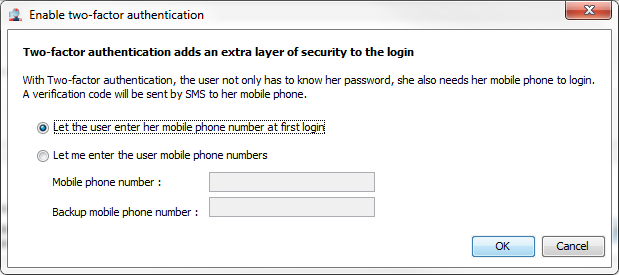 Chapter 4 Two Factor Authentication The options allow to enable the two-factor authentication for all new users and to enable and configure the Remember this PC option.