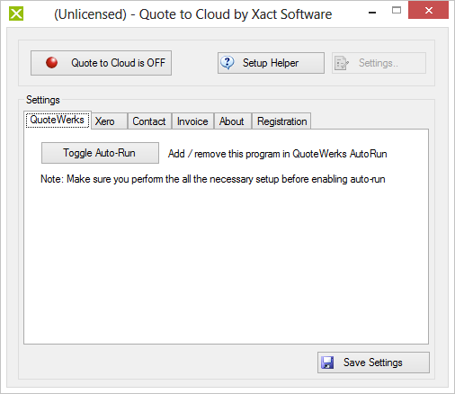 Quote to Cloud Settings Click Settings button to open Quote to Cloud settings. Note: some settings will be disabled while Quote to Cloud integration is active.