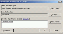 Figure 11: Specifying the Enrollment Policy (1) By clicking the Add button, add the enrollment group you created before.