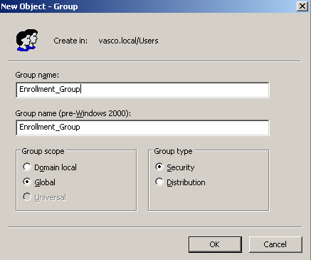 Figure 5: Security groups for enrollment station and agents (1) Fill in a relevant group name (e.g. Enrollment_Group) and click OK.