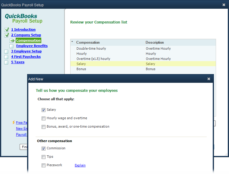SETTING UP COMPENSATION ITEMS FIGURE D-3 When you turn on checkboxes for compensation items (as shown here) and then click Next, the interview asks questions about the items you re adding.