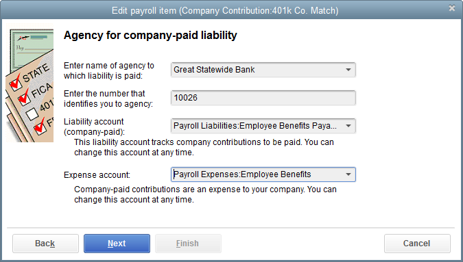 SETTING UP EMPLOYEE BENEFITS EDITING RETIREMENT BENEFIT ITEMS You can edit payroll items in the QuickBooks Payroll Setup interview or from within the Payroll Item List. Here s how to do the latter: 1.