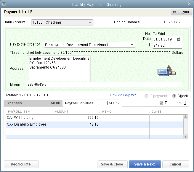 PAYING PAYROLL LIABILITIES FIGURE D-22 The Liability Payment dialog box looks almost identical to the Write Checks window.