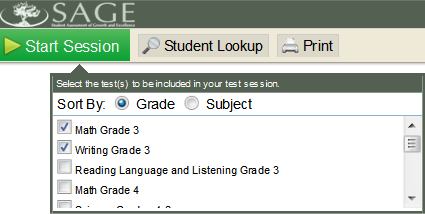 Select Tests to Administer Once you have logged in, select the tests you will administer and then click the Start Session button in the top left corner.