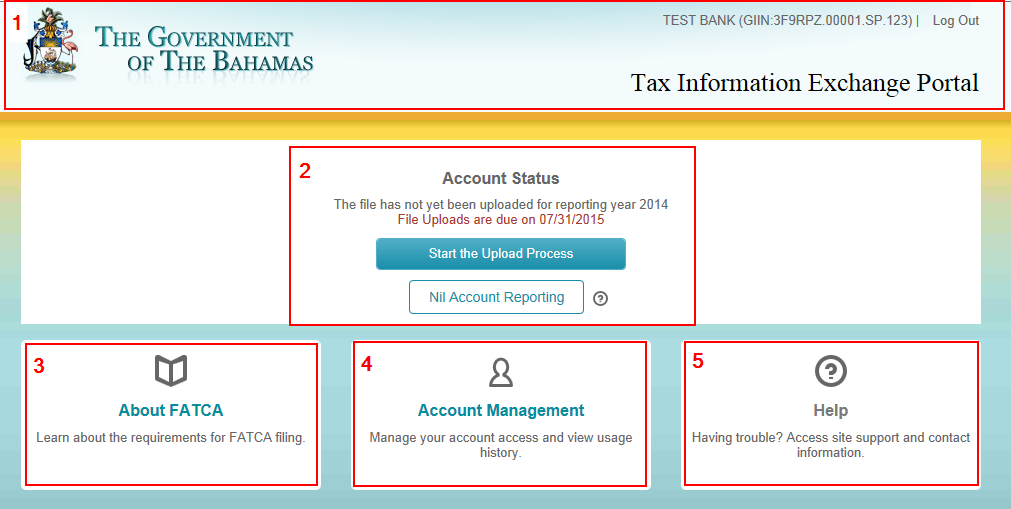 4.0 Account Status Landing Page The Account Status page is comprised of 5 sections: 1. Informational Banner o Government of The Bahamas seal.