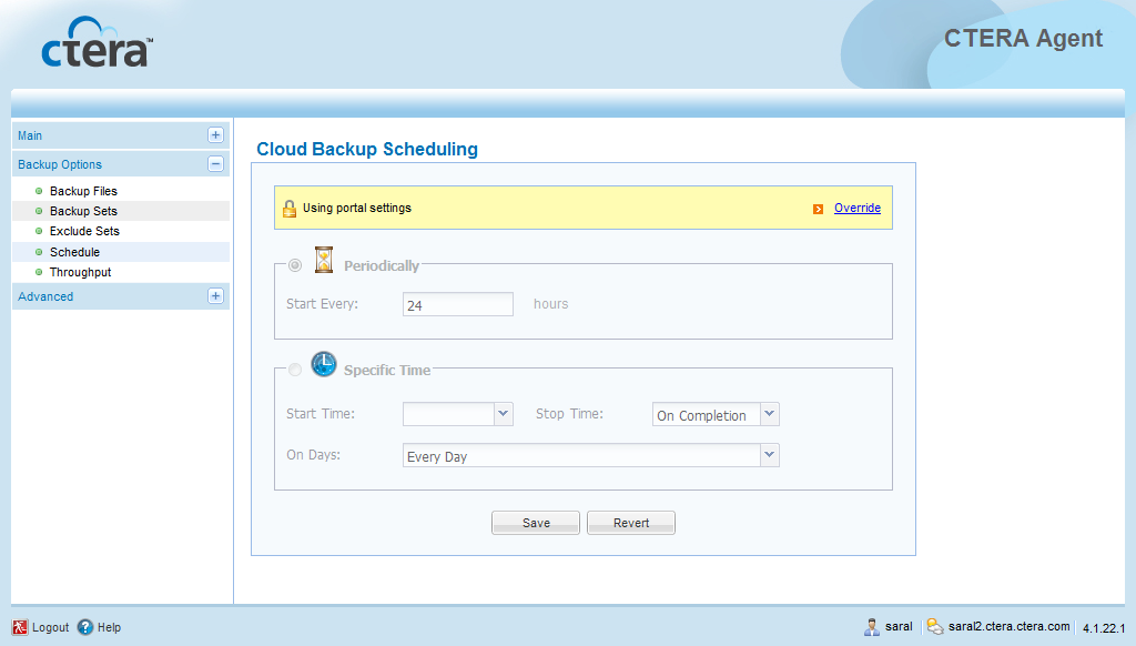 4 Using the CTERA Agent in Cloud Mode Table 4: Folder Icons This icon... Indicates... Scheduling Automatic Cloud Backup Existing files in this folder are selected for backup.