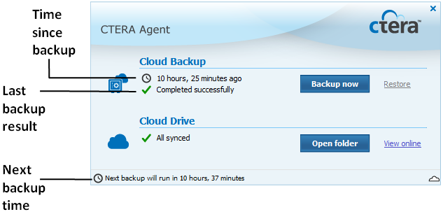 Using the CTERA Agent in Cloud Mode 4 To resume backup from the Menu Bar Right-click the CTERA Agent tray icon in the Menu Bar, and click Unsuspend.